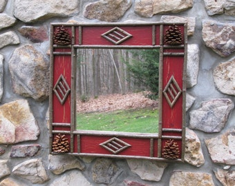 Twig and Pinecone Diamond Design Mirror in Red Crackle Finish