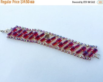 MOVING SALE Half Off Broken but Beautiful Frosted Red Glass and Aurora Borealis Rhinestone Bracelet