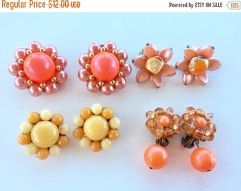 MOVING SALE Half Off Destash  Craft Lot of Vintage and Salvaged Beaded  Cluster Earrings