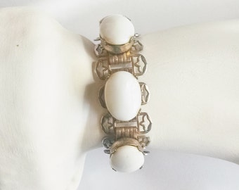 Bracelet White Cabachon Lucite Goldtone Links Bold Glam Art Deco Vintage Wedding Jewelry 1950s Gift for Her Mother's Day Birthday