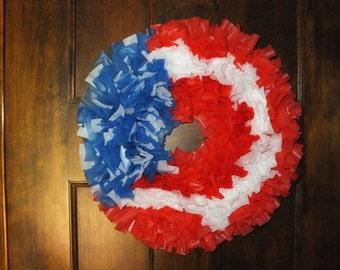Large Patriotic Red White & Blue Wreath