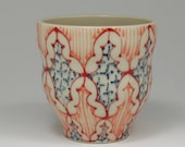 Ceramic Tumbler - Juice Cup, Yunomi - Handmade with Red, Melon and Navy Pattern