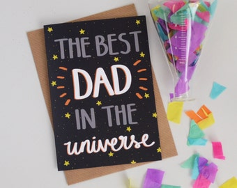 Best Dad Fathers Day Card, Best Dad in the Universe Card, Cards for Him, Cards for Men, Dads Card, Space Greetings Card, Constellation Card