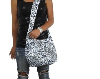 paisley hobo bag in shades of gray and blues. cross body purse or shoulder bag. medium or large purse design your own. Fall fashion