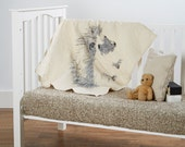 hedgehog - baby/toddler quilt, with optional 100% linen ruffle crib skirt - hand drawn forest animals