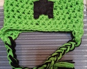RUSH Minecraft Creeper hat any size earflap crochet  gift