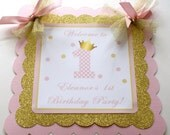 Pink and Gold Door Sign, Pink and Gold Crown Birthday Decorations, Gold and Pink Party, Princess Birthday Party, 1st Birthday Party