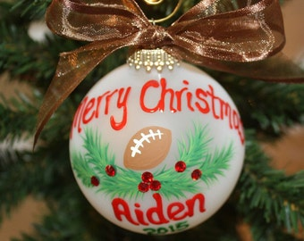 Football Custom Ornament - Handpainted with Holly and Berries made with Swarovski Rhinestones - Made to Order