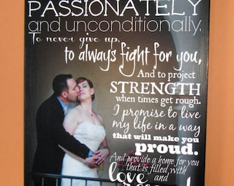 WEDDING GiFT Personalized Mounted GICLEE Print- custom made to order- 13x28 for your wedding