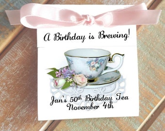 Rose Medley Pink White Rose Teacup Personalized Tea Bag Birthday  Party Favors 30th 40th 50th 60th 70th