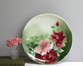 Vintage K&G Luneville France rose plate - airbrush painted pink and cerise roses - plate wall decor - vintage cottage charm