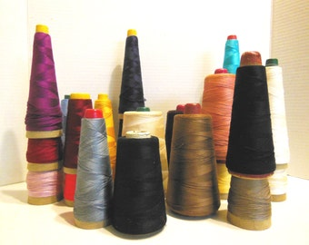 cone thread, vintage sewing, mixed colors, sewing room decor, industrial thread collection, mercerized