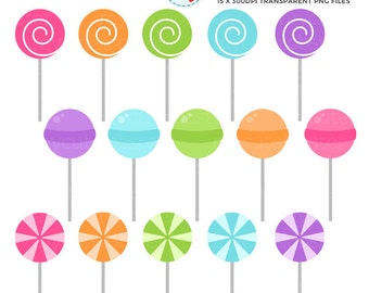 Lollipops Clipart Set - clip art set of candy, lollies, lollipop, sweets, lolly - personal use, small commercial use, instant download