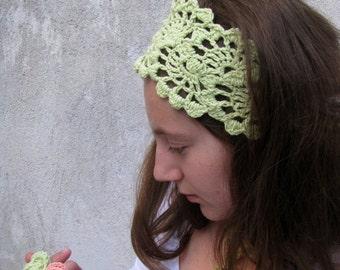ON SALE 15% SALE HairBand- Crochet Headband-   Hair Fashion Accessories - Crochet HairBand in Mint Green