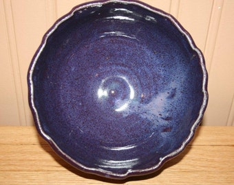 Purple pottery bowl, fruit bowl, cereal bowl, handmade bowl with ruffled rim