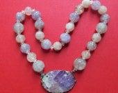 Antique Amethyst Quartz Flower Bead Necklace Sterling Silver Circa 1920