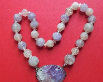 On Sale Antique Amethyst Quartz Flower Bead Necklace Sterling Silver Circa 1920