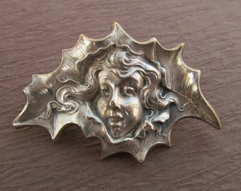 ON SALE Antique Sterling Silver Brooch Art Nouveau Unger Brothers Girl In A Holly Leaf Antique Pin Jewelry