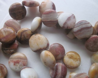 Brown Coin Italian Onyx Beads 18mm 12 Beads