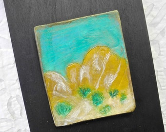Desert Art, Ceramic Art Tile, Joshua Tree Park, Turquoise, Pottery Art, Ceramic Wall Art, California Landscape, Porcelain Art, mixed media