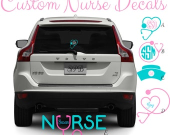 Nurse Decal, Stethoscope Monogram Decal, Monogram Nurse Decal, Doctor Monogram Decal, Nursing Student Decal