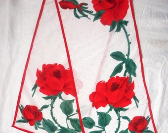 Vintage VERA Scarf With Big Red Roses