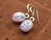 Petal Pink Opal Dichroic Fused Glass Earrings Sterling Silver Ear Wires