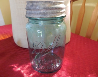 Vintage 1920s to 1940s Ball Perfect Mason Jar (1) Zinc Milk Glass Screw Lid Pint Size Small Canning