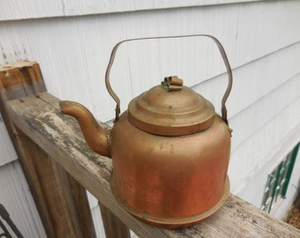 Vintage Tiny Copper Kettle Tea Pot Made in Sweden Metal Decor Swedish 1920s to 1960s Small