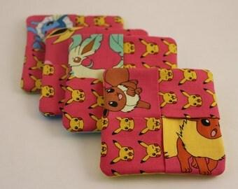 Pokemon & Pickachu Fabric Drink Coasters - pink Set of 4
