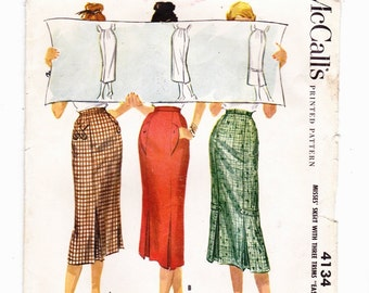 McCalls 4134 Misses Vintage Skirt 1952 With Three Trims Waist 25""