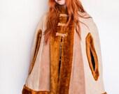 Vintage 1960s Cape- Brown Faux Fur & Leather Snap Coat Mod 60s
