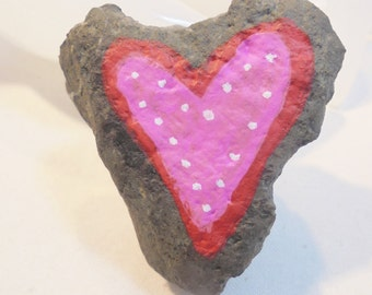 Handpainted HEART ROCK Paperweight Pink Red Hearts Mother's Day Gift OOAK Abstract Garden Decor