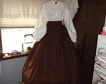 Ladies Civil War Warm Brown Print Skirt Variable Size Waist Civil War Skirt