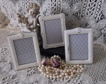 Eclectic set of mini frames, three frame set, shabby and chic, creamy white
