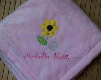 Personalized 30x40 Micro Fleece Baby Girl Sunflower Daisy Flower Blanket