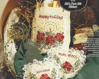 90s Happy Holidays Silk Ribbon Embroidery Kit Bucilla Holiday Gift Set with 100% Pure Silk Ribbon Unopened Kit Gift Bag and Ornaments