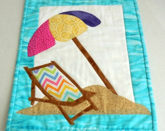 Beach Fun Mini Quilt- Free Shipping to US and Canada