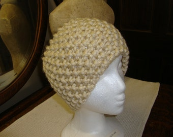Hand Knitted Headband in Creme.