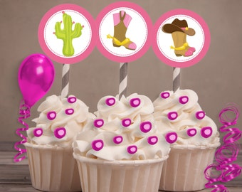 Cowgirl boots Party Favors, Cowgirl Cupcake Toppers, Cowgirl Party, Western Party, Pink cowboy boots, Cactus party.  Sadie hawkins Set of 24