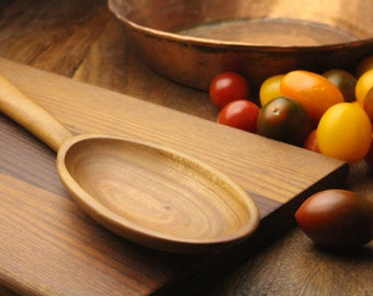 Cherry wood wooden spoon hand carved kitchen utensil made from salvaged wood