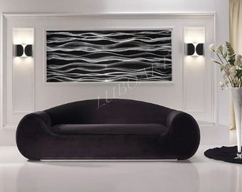 Black Abstract modern wall decor silver art painting Large home office Long horizontal vertical mural sculpture hand made by Lubo Naydenov