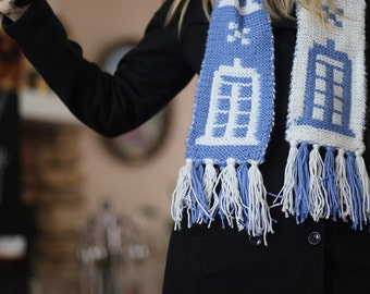Doctor Who TARDIS scarf - Hand Knit (White and Blue)