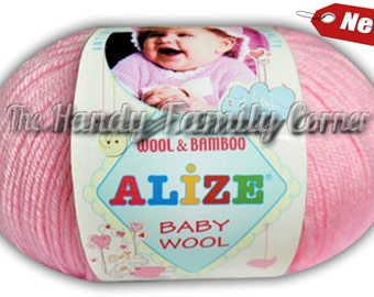 Set of 5 balls Alize Baby Wool. Antibacterial yarn. Wool / bamboo blend. Colour variations. Color of your choice. Wholesale. DSH