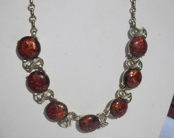 Vintage Unsigned Coro Amber Confetti Lucite and Rhinestone Necklace