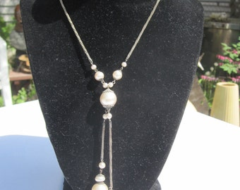 Victorian Pearl Lariat Necklace