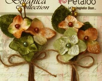 Petaloo Velvet Hydrangea 2 Picks in Sage