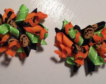 Halloween/ black, green & orange- 2 inch bows