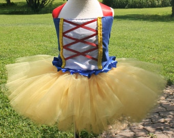 girls snow white halloween or birthday costume....corset style top with tutu....