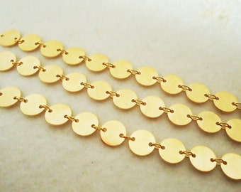 A-181. 50cm, Disk Charms chain, Cilcle Charms Chain - choose your color